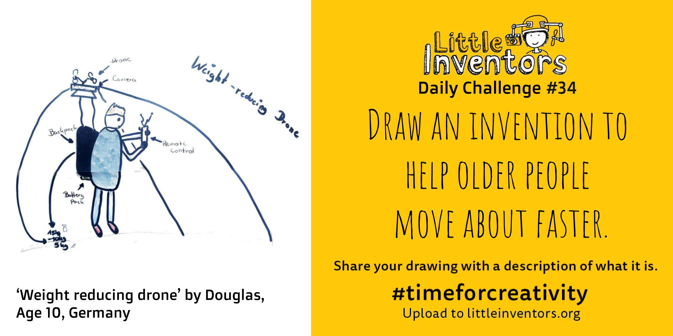 Little Inventors Challenge 34 : Draw an invention to help older people   move about faster.